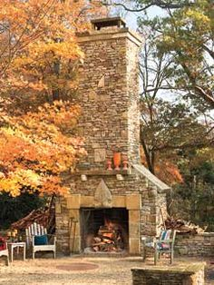 Outdoor fireplace...  Wow!