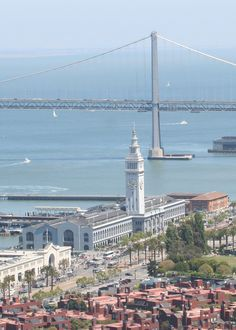 San Francisco, CA.  The Ferry Building and Bay Bridge from Telegraph Hill.