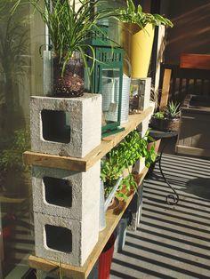 My DIY Cinder Block Balcony Shelf  #DIY #GARDEN #BALCONY #BALCONY GARDENING #SHELF #CINDERBLOCK #OUTDOORS #PATIO FURNITURE #OUTDOOR PATIO DECOR #SUCCULENTS #MINT #BASIL #CACTI AND DESERT PLANTS #CACTUS #CONTAINER GARDENING