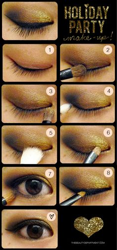 """1. Prepare your eye by using an eyeshadow primer or foundation so that your eyeshadow will last longer.    2. Apply a chocolate brown eyeshadow with a flat shadow brush.    3. Next, apply a gold eye shadow towards the inner corner of your eye.    4. Sweep a black eyeshadow on the outer corner of your eye with a blending brush, creating the sideways """"V"""" shape.    5. Blend out any harsh lines created by the black + gold eye shadows.    6. This is the fun part! Pour a very small amount of loose gold glitter onto a smooth surface (an extra plastic lid lying around, a paper plate, etc), and dip a small brush into a clear brow gel, and then pick up some glitter with your brush. begin patting it on top of the gold eyeshadow that you applied earlier, but don't extend it too much into the original brown eyeshadow. Be very careful not to get it too close to your water line or in your eye.    7. Now you're going to line your upper lash line with a black gel liner and your lower lash line with a brown pencil. Using both browns + blacks through out this tutorial will keep things looking softer and not too harsh.    8. Dab a smudge brush into the chocolate brown eyeshadow and smudge it using a dabbing motion along your lower lash line, on top of the liner you just applied. This will help set the eyeliner and also help give you the smoky effect.    9. Curl your lashes and apply your favorite mascara (don't forget to use waterproof if you'll be dancing up a storm!). If you'd like, you can add false lashes to give your look some extra drama."""