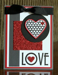 Stampin' Up!  Filled With Love  Krystal De Leeuw  Valentine's Day Card