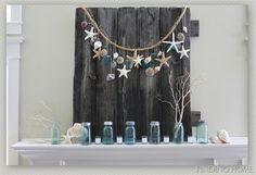 Awesome beach decor! blue mason jars, beaches, shell, decorating ideas, beach cottag, summer decorating, garland, mantl, mantel decorations