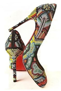 Christian Louboutin Multicolor Beaded Pumps #CL #Louboutins #Shoes #Heels