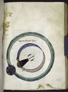 Diagram of an eclipse of the sun, with the moon casting a shadow cone, c. 1260.