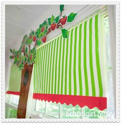 Apple theme window treatments - www.schoolgirlstyle.com