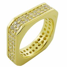 925 Sterling Silver 18k gold plate Cubic Zirconia Ring