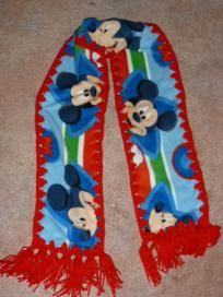 Mickey mouse fleece fabric crocheted scarf w/ free shipping