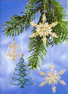 quilled snowflakes for christmas tree decorating