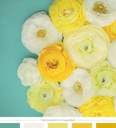 colors inspirations, color palettes, color inspiration, color combos, room colors, teal and yellow prints, art prints, laura ruth, flower