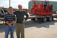 Kevin and Terry both 7+ year employees of Griffin Pump stand in front of a load of Dewatering Pumps and equipment they just helped prepare for shipment. Griffin sells and ships dewatering pumps around the world! www.griffinpump.com