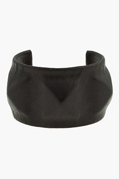 WENDY NICHOL Leather and brass 3-Pyramid Cuff