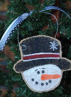 Snowman Burlap Hand Painted Christmas Ornament