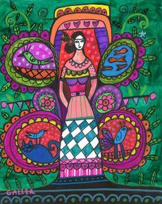 Mexican Folk Art Original Painting Tree of Life Candle Frida Kahlo Cat Fish
