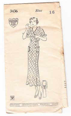 Vintage 1930s Mail Order 3436 Sewing Pattern by SewUniqueClassique, $45.00