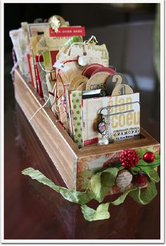 Christmas card drawer storage.-LOVE this idea! Another fun way to dress up my vintage sewing machine drawers.