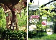What a wonderful memorial floral tribute that incorporates photos as well as flowers   placed in mason jars hanging from the tree. If your loved one was a gardener,  you could pick the flowers from their garden. What a fabulous way to add a special DIY personal touch and turn a funeral into a celebration of life. #idea for photos at celebration of life, #funeral idea, #creative ideas for funerals, #memorial service idea