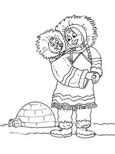 Kleurplaten thema Eskimo's voor kleuters / Polar theme preschool / thème poles maternelle
