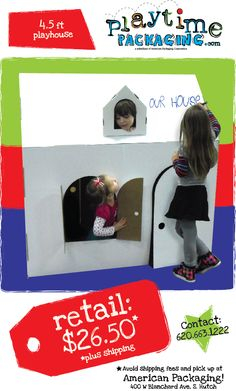 $26.50 plus shipping for this corrugated cardboard playhouse! Encourage imaginative play and creativity while decorating as a dream house, a haunted mansion, or a club house...