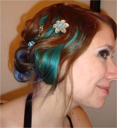 Brown Hair with Turquoise, Purple, and Blue @Krystal Thanirananon Gibson