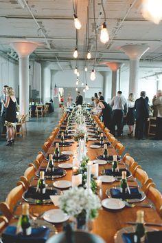 warehouse reception, photo by Mallory and Justin Photographers http://ruffledblog.com/glam-wedding-in-a-cleveland-warehouse #receptions #weddingreception