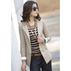 Elegance OL Style Double Breasted Long Sleeve Slim Blazers For Women