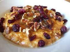Steel oats with pumpkin puree,craisins, and pecans