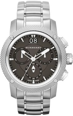 Burberry Mens Stainless Steel Chronograph Watch with Grey Dial