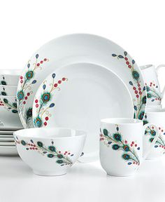 Gourmet Basics by Mikasa Dinnerware, Peacock Feathers 16 Piece Set - Casual Dinnerware - Dining & Entertaining - Macy's