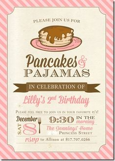 Pancakes & Pajamas Party // A lot of great ideas. Donuts, muffins, fruit loop necklaces.