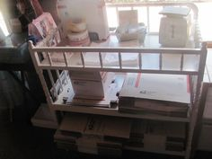 Turn a changing table into a mailing center for your home business.
