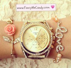 "Pink rosa bracelet, gold rhinestone fashion watch, and pink pearl rhinestone ""love"" bracelet. pearl rhineston, bracelet, fashion watch, rhineston fashion, gold rhineston, accessori"