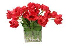 Fantasy Tulips in Square Vase, Red on OneKingsLane.com