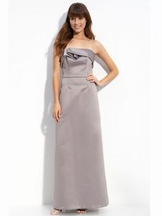 (NO.020356 )Sheath / Column Strapless Ruffles  Sleeveless Floor-length Satin Silver Prom Dress / Evening Dress