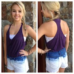 DIY Cut t-shirt turned into summer tank and jeans to ombre shorts -- upcycled from Thrift Town finds!  $1.99 & $2.99!