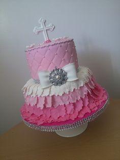 Princess cake and bling bling Fushia, pink, and white.