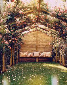 secret garden, dream, garden benches, arbor, climbing roses