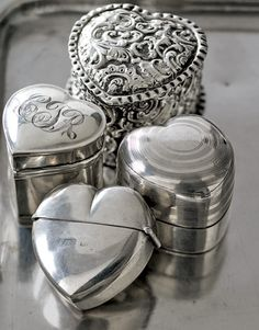 Vintage Silver Heart Shaped Ring Boxes - There is a familiar romantic story most couples recall when they first become engaged. It usually involves a proposal and a ring. But it's not always just about the ring. In the early 20th century, it was a popular tradition to present a ring in a monogrammed sterling-silver ring box.  - This is adorable and heart warming.  Make my future fiance do this.