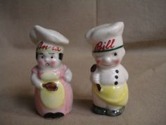 Vintage Comical Bashful Determined Chef Couple Salt and Pepper Shakers Ceramic
