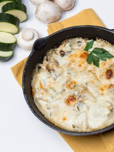 This combination of zucchini and mushrooms in some of our favorite Alfredo sauce, easily makes a meal on its own.