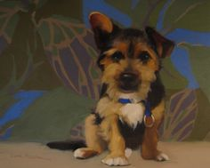 The Good Boy painting of puppy on pattern, painting by artist Diane Hoeptner