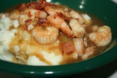Shrimp and Brown Gravy with Homemade Mashed Potatoes
