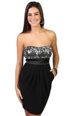 strapless sequin party dress with tie back
