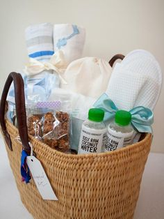 DIY Baby Shower Gifts: New Mom Hospital Kit >> http://www.diynetwork.com/decorating/6-perfect-baby-shower-gift-kits-you-can-make/pictures/index.html?soc=pinterest