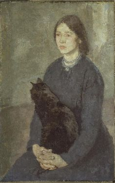 Young woman holding a black cat by Gwen John