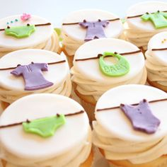 baby shower cup cakes!!  - could use the same idea as covers on baby food or mason jars, with treat inside for favors, felt top
