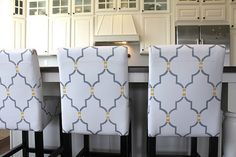 decor, idea, painted chairs, hous, bar stools, diy, leather chairs, stencils, white kitchens