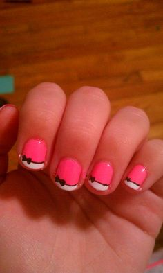 Pink bow french - Imgur - best if you don't have enough time to do complicated nail arts