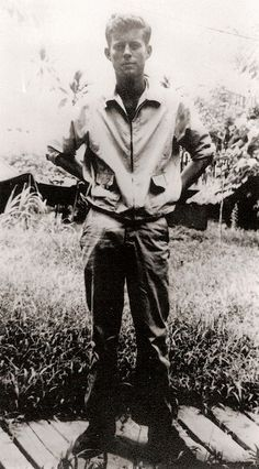 John F. Kennedy as a member of the US Navy in the Solomon Islands in 1943.
