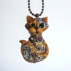 *POLYMER CLAY ~ Steampunk Yellow Tabby Kitty Cat  NecklacePolymer Clay Jewelry by FreeHeart1