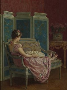 "Auguste Toulmouche (french-1829-1890) - ""Idle thoughts"""